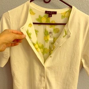 Ann Taylor short sleeved button sweater w/ lining
